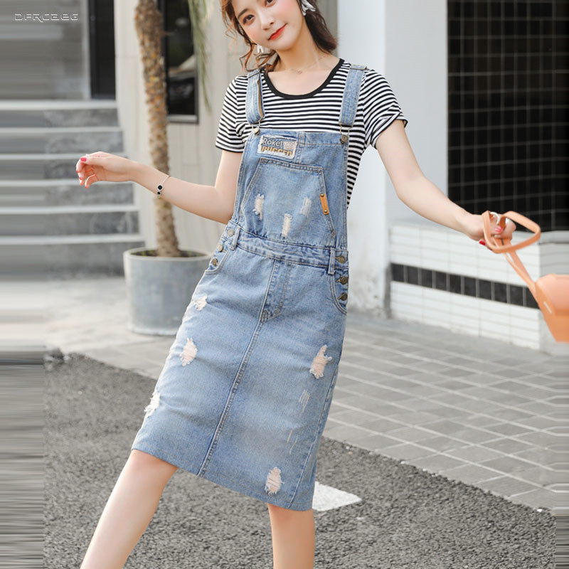 Women's Retro Suspender Jean Skirt With Pocket 2019 Summer High Waist Ripped Strap Overalls Hole Denim Jumpsuit Skirt Female