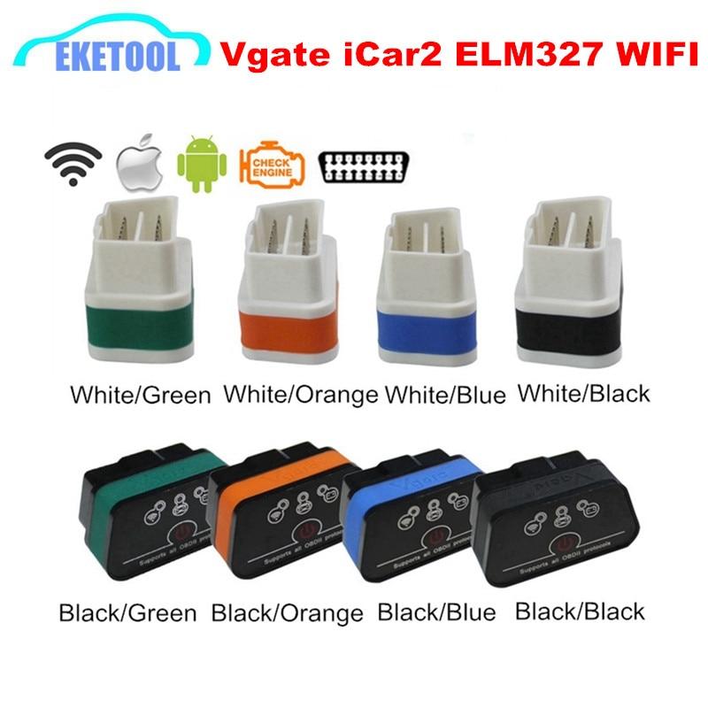 Prix pour Vgate ELM327 WIFI iCar2 Auto OBD2 Scanner ELM 327 Sans Fil Pour iOS iPhone/Android Couple V2.1 Voiture De Diagnostic Interface 8 Couleurs