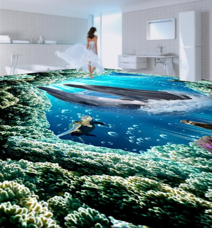 Floor wallpaper 3d for bathrooms dolphin 3D wallpaper 3d floor murals PVC  waterproof floor self-adhesive 3D floor