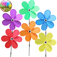 6pcs Polychromatic Childrens Toy Windmill Single-layer Six Leaf Outdoor Lawn Decoration Entertainment Kid