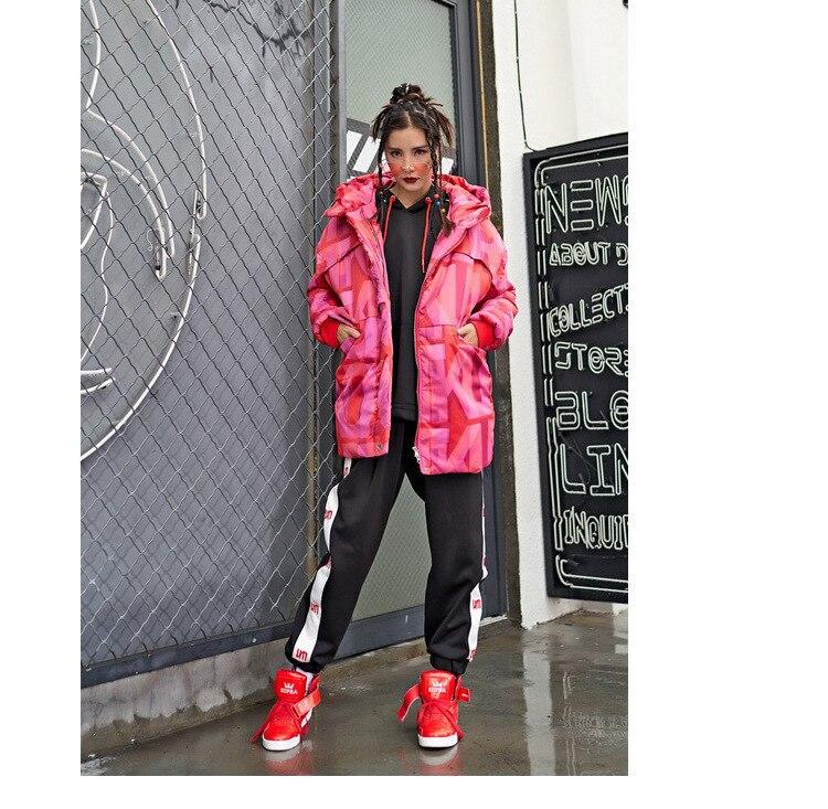 Parkas Manteau Hip Chaud Hiver Nouveau Style Capuchon Survêtement Lettre Hop Rembourré Rouge Coton À Manteaux corail Veste Streetwear Rose pourpre Femmes clJFK1