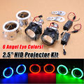 "2PCS 2.5"" Bi-Xenon Hi/Lo HID Projector Kit Conversion Lens Angel Eye CCFL Halo"