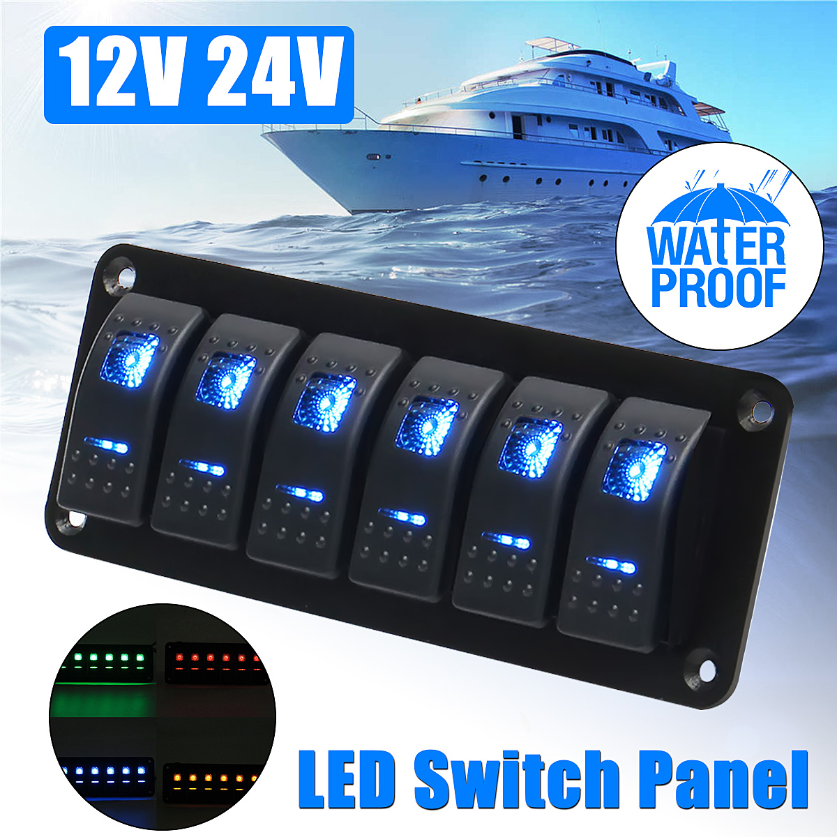 12V 24V 6 Gang Dual LED Light Bar Caravan Marine Boat RV Rocker Switch Panel Universal Car Boat Switch Panel Lighter Socket dc 12v 24v 6 gang led switch panel slim touch control panel box for car marine boat caravan