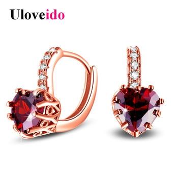 Uloveido Korean Wedding Earrings for Women Earings with Red Heart Stones Rose Gold Color Stud Earring Bijoux Brincos 2017 HE515