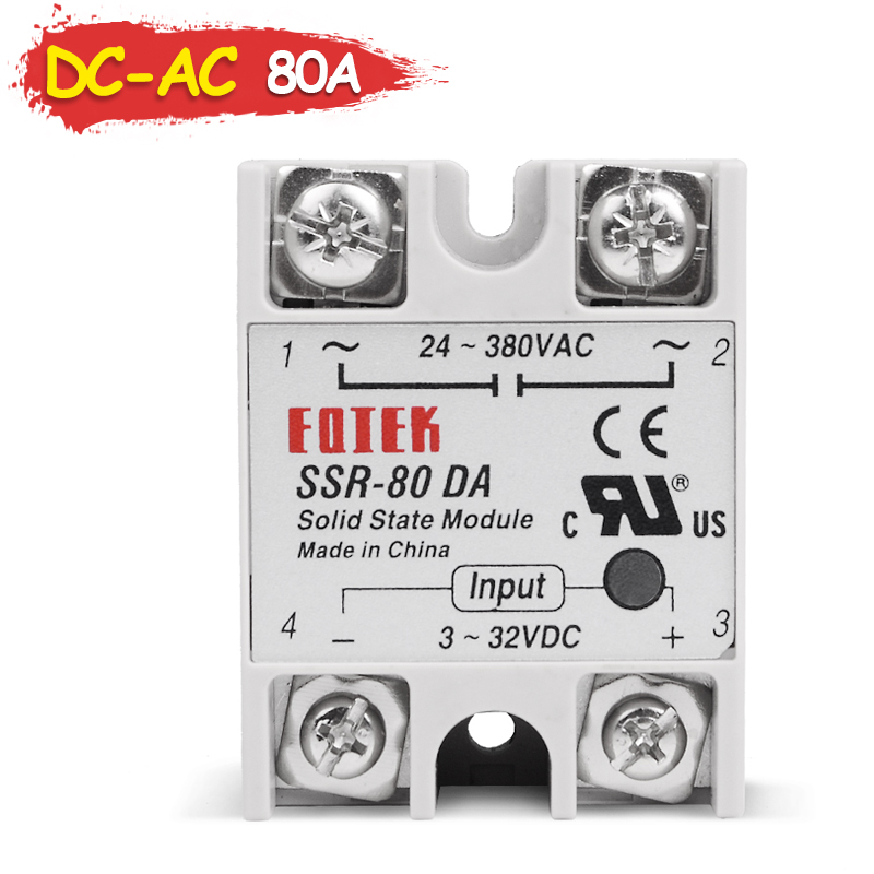 SSR-80DA Industrial Solid State Relay 80A 80DA SSR 80 DA Input Control Voltage 3-32V 12V DC and Output Load 24-380V 220V AC
