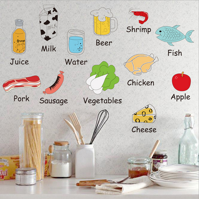 Kitchen Poster Food As Alphabet With Food Name: Cartoon Object Name Nursery Decor Sticker Picture Learning