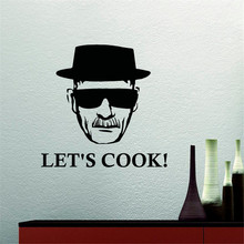 Let's Cook Man With Glasses Wall Stickers Home Decor Living Room Art Stickers Murals Removable Vinyl Wall Decals