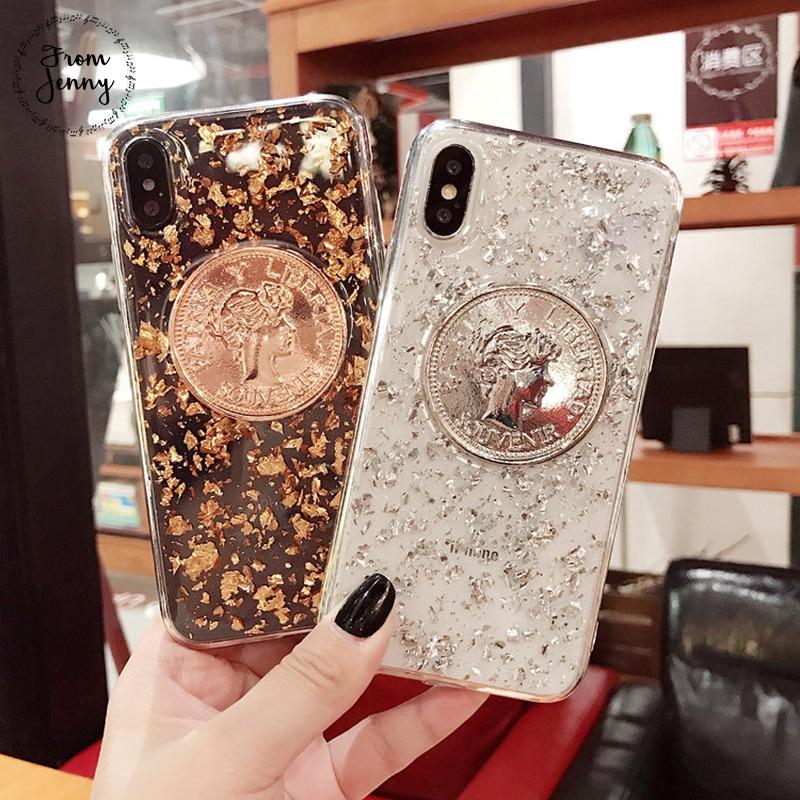 De Jenny Cristal Pièce D'or Ruban Téléphone Cas pour iphone 7 7 plus 6 6 s 6 plus 6 splus 8 8 plus X glitter transparent retour couverture