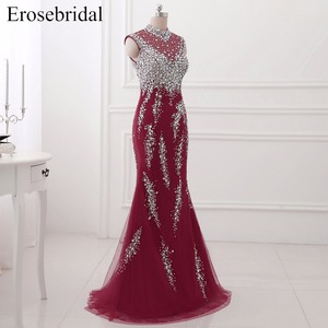 Image 3 - Erosebridal High Neck Mermaid Evening Dress Long Luxury Beaded Long Formal Women Evening Gown Party Zipper Back with Small Train