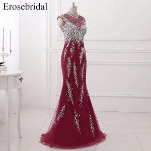 Image 3 - Erosebridal suknia wieczorowa na szyję syrenka długi luksusowy długi z koralikami formalne kobiety suknia wieczorowa Party Zipper powrót z mały pociąg