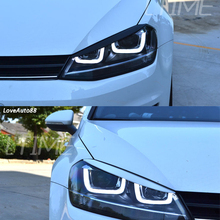 2pcs ABS Chorme Car Headlight Eyebrow Cover Trim Sticker Head Lamp Eyelid For Golf 7 Accessories