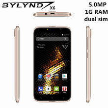 Original China mobile phones BYLYND X6 cheap celular 5.0″ 5MP Android 6.0 smartphones 3G 1G RAM games MTK6580 Quad core unlocked