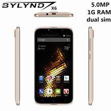 """Первоначально Китай мобильные телефоны bylynd X6 дешевые Celular 5.0 """"5mp Android 6.0 смартфонов 3G 1 г Оперативная память игры MTK6580 Quad core разблокирована"""