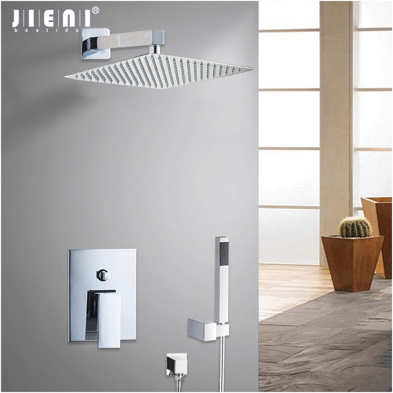 8 RU Wall Mounted Rain Shower Set Luxury Square Shower Head Shower Sets with Hand Control Valve Chrome Polished shower Faucet