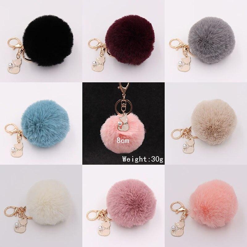 RE-Cat-Pendant-Keychain-Pompom-Rabbit-fur-ball-key-chain-fluffy-pompon-Keyring-Women-Key-Holder