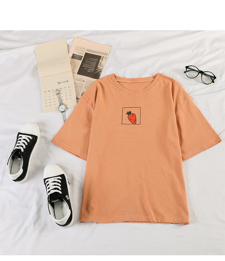 HTB14oVOeqWs3KVjSZFxq6yWUXXa4 - 90s girl Fashion T Shirt Women Kawaii carrot Print Short Sleeved O-neck T-shirts Vintage Ullzang Tshirt Harajuku Top Tees Female