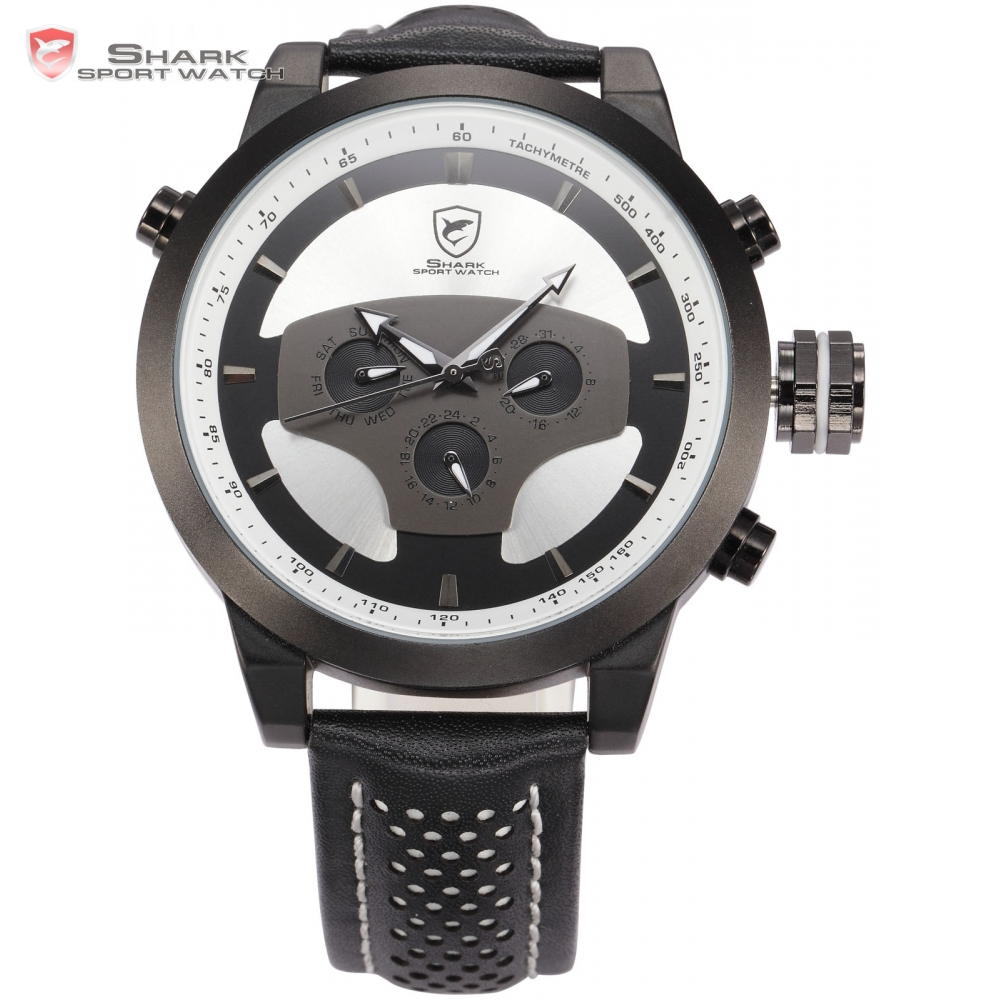 Requiem Shark Sport Watch Men Calendar Dual Time Zone Black White Dial Date Day Display Leather Band Quartz Watches Gift / SH209  pure white dial face ziz time watches navy
