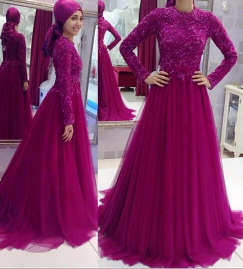 Abendkleider 2017 Long Sleeve High Neck Muslim Long Evening dresses A-line Islamic Prom Gown Formal Dresses Vestidos de noite
