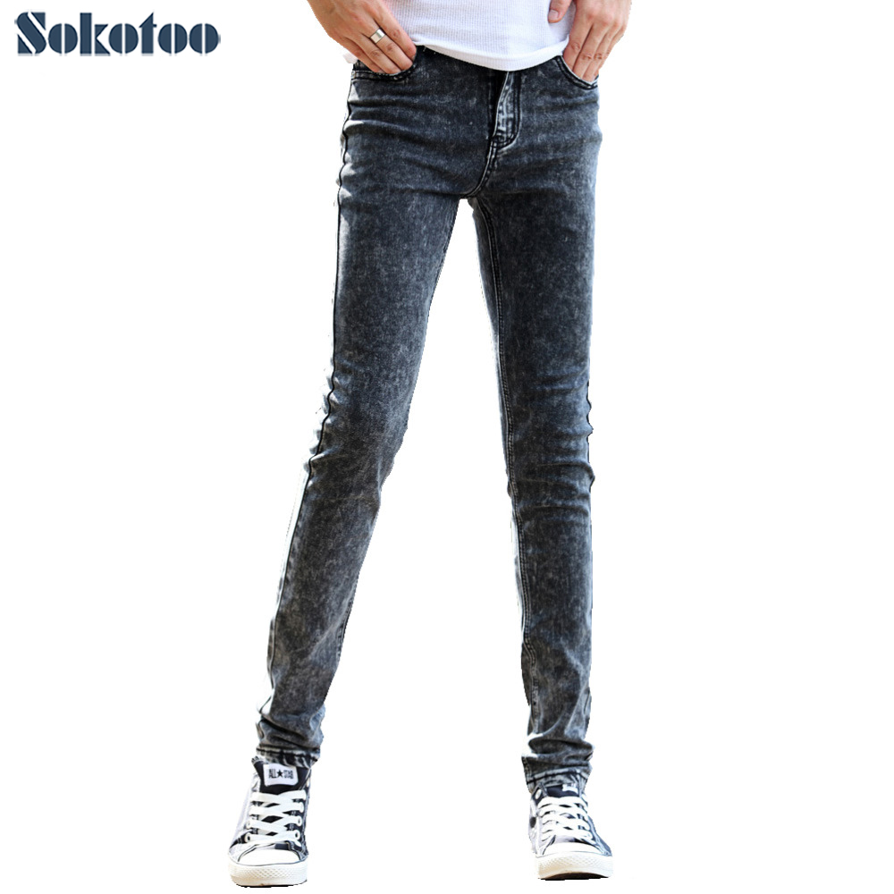 Sokotoo Men's Dark Grey Slim Skinny Denim Pants Casual Pants Korean Skinny Jeans For Man