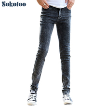 Sokotoo männer dunkelgrau dünne dünne jeans hosen Casual hosen koreanische dünne jeans für mann