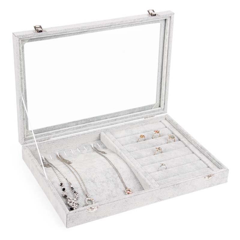 Boîtes à bijoux organisateur anneau collier bijoux stockage support de la boîte avec fenêtre meilleur cadeau boîte pour femme petite amie