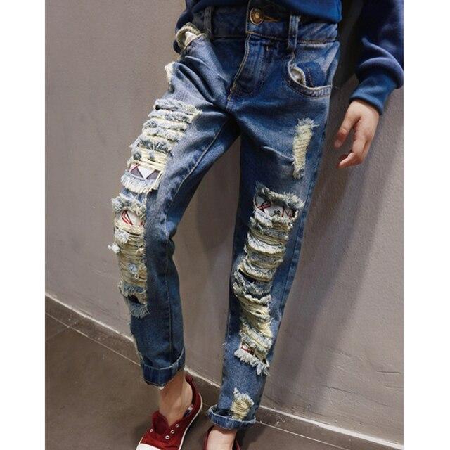 2016 Дети Мальчики Девочки Джинсы брюки осень моды дизайнерские джинсы мальчик девочка джинсовые брюки повседневная рваные джинсы для девочек мальчиков 2 ~ 7yrs