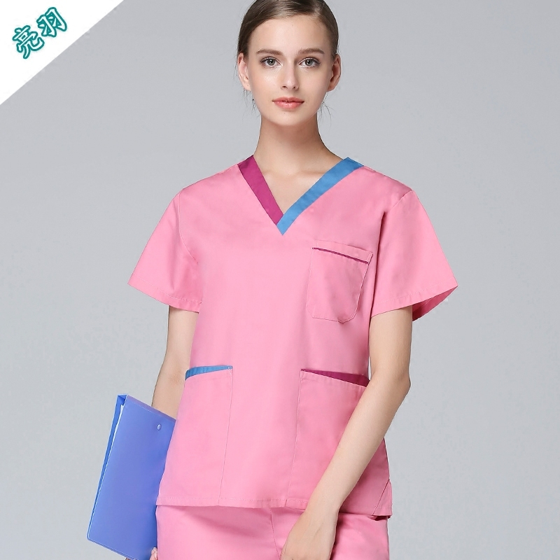 2019 High quality pink V neck medical scrub sets for women beauty salon uniform with elastic wasit band trousers