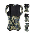 Plus Size Sexy Steel Boned Corset Underbust Corsets And Bustiers Black Embroidery Corselet Women Corsage Corpete