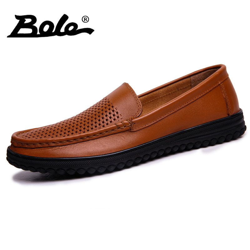 BOLE Summer Punching Breathable Handmade Leather Men Shoes Fashion Designer Slip on Men Driving Loafers Comfort Flats Men Shoes branded men s penny loafes casual men s full grain leather emboss crocodile boat shoes slip on breathable moccasin driving shoes