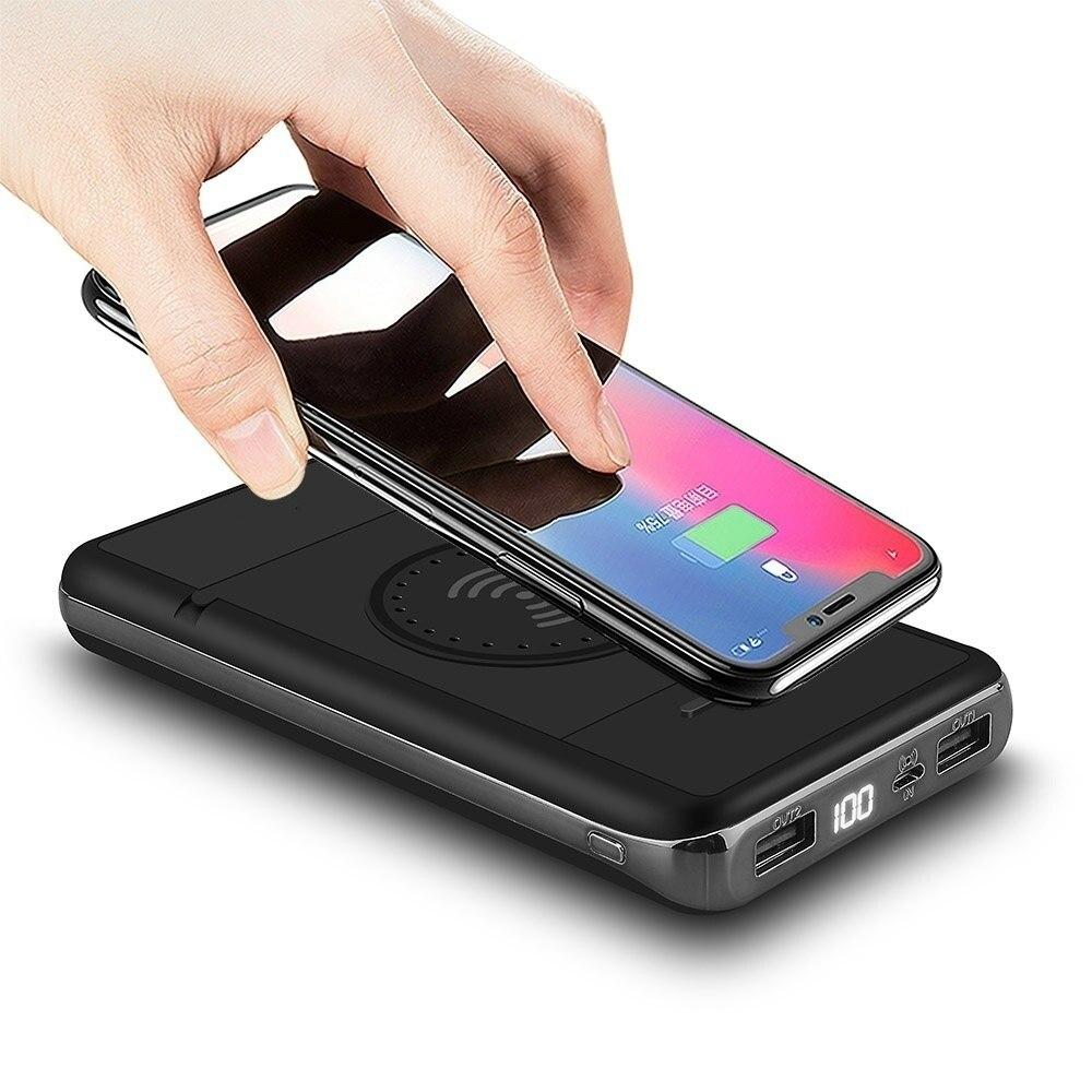 Chargeur sans fil pliable de mode charge rapide 20000 mAh batterie externe sans fil double USB batterie externe Portable support téléphone Char