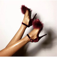 2019 fashion Summer Woman Sandals Feather Open Toe Sandal Womens High Heels Sandals fine Heeled Pumps Ladies Shoes size 35 40