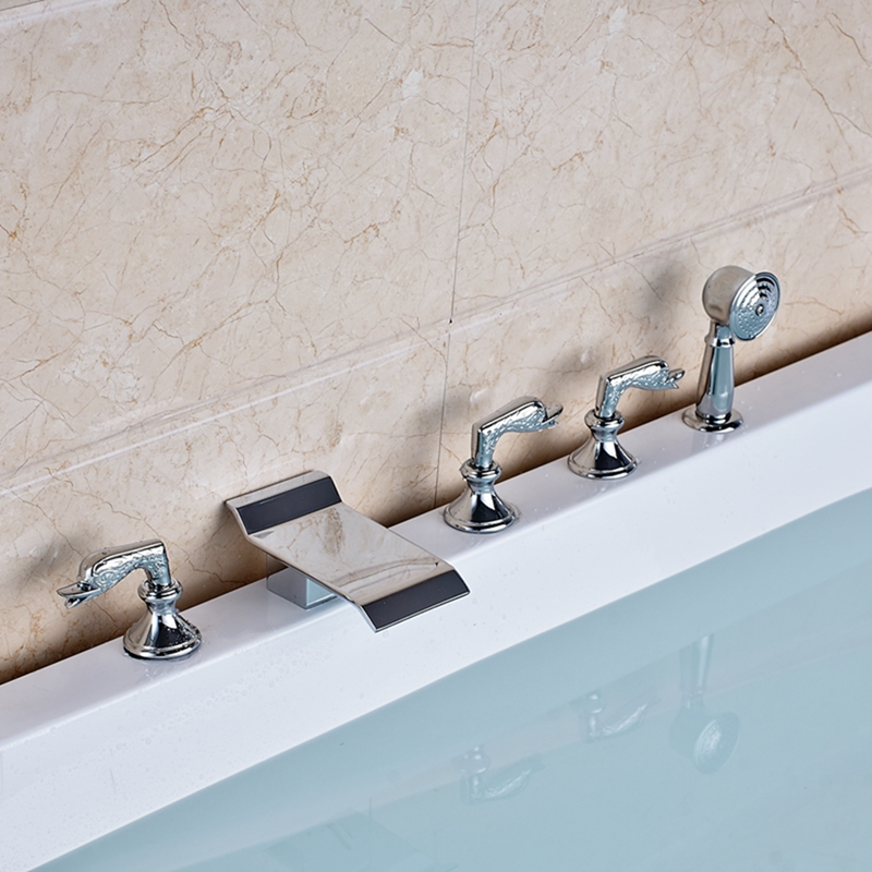 Chrome Brass Waterfall Bathroom Tub Faucet Swan Handles 5 pcs Sink Mixer Tap NEW