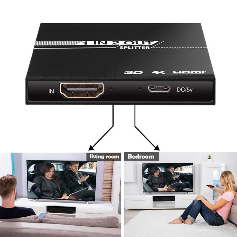 HDMI Splitter 1 In 2 Out Aluminum Ver1.4 HDCP 4K HDMI 1x2 Switcher 3D 1080P