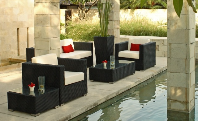 All Weather Garden Chairs Blue Parrot Chair Covers Waterproof Modern Bali Synthetic Rattan Outdoor Lounge Furniture