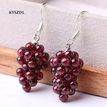 KYSZDL Natural Garnet Round Bead Hand knitting Earrings Women s 925 Sterling Silver Fashion Jewelry Gifts