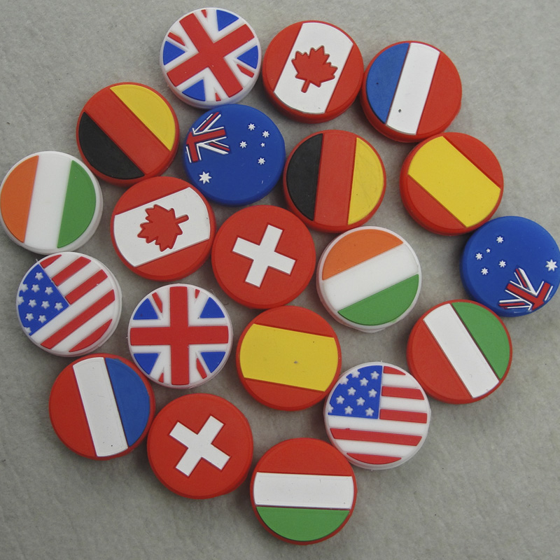 6PCS/lot NEW Arrival Countries National Flag Tennis Damper Racket Shock Absorber Tennis Squash Racquet Vibration Dampeners