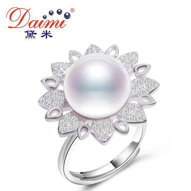 DAIMI Sunflower Ring S925 Sterling Silver Ring 11-12mm White Freshwater Pearl Ri