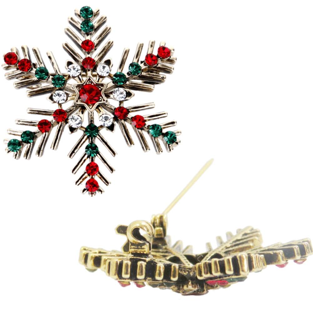 Clásico hermoso copo de nieve de navidad broches de diamantes de - Bisutería - foto 4