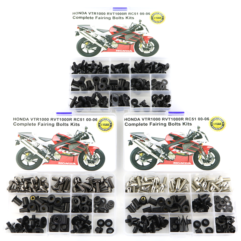 Motorcycle Accessories Full Fairing Bolts Kits Steel Washer Nuts Fastener For Honda VTR1000 RVT1000R RC51 00 06|Full Fairing Kits|Automobiles & Motorcycles -