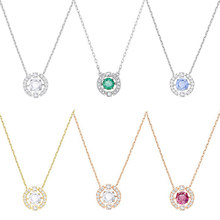 SERVICE YOU Fashion 100% Sterling Silver Original 1:1 High Quality Zircon Necklace Women Jewelry Free Mail(China)