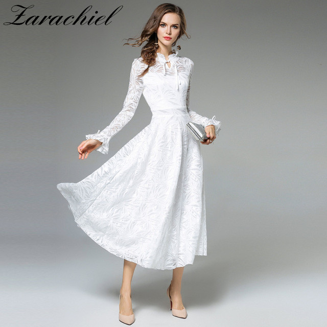 584364a24ce Zarachiel Spring Women Fashion Long Flare Sleeve V-Neck Bow Tie White Lace  Maxi Dresses Sexy Show Thin Long Pleated Lace Dresses