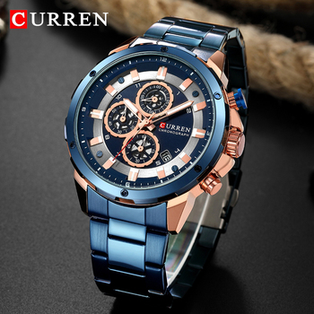 CURREN 8323 Military Sport Waterproof Chronograph Blue Quartz Watches With Box