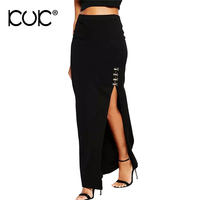 Kuk Long Skirt Women Black Bodycon Saia Longa Ladies Office Work Wear Elastic Waist Side Split