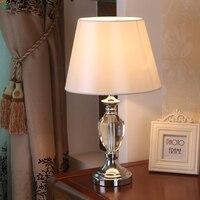 Современный блеск кристалл Светодиодная настольная лампа luminaria де меса хромированный металл Спальня Светодиодные Настольные светильники