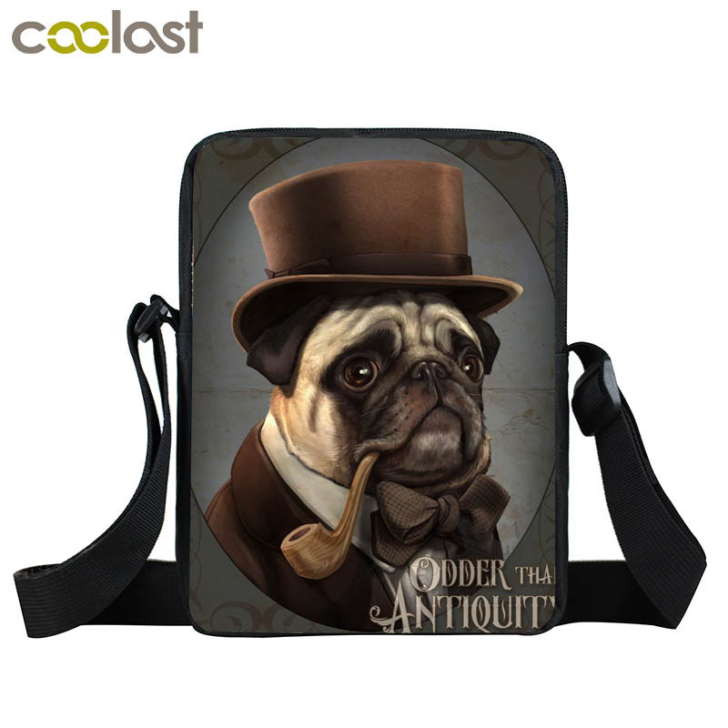 Young Men Women Steampunk Mini Messenger Bag Punk Animal Pet Shoulder Bag Rottweiler Dog Cat Crossbody Bags For Ladies Handbag