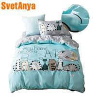 2018 Lovely Cats Green Cartoon Kids Big Pattern Bedding Set Cotton Twin Size 3Pcs Print Duvet Cover Flat Sheet Pillow Case