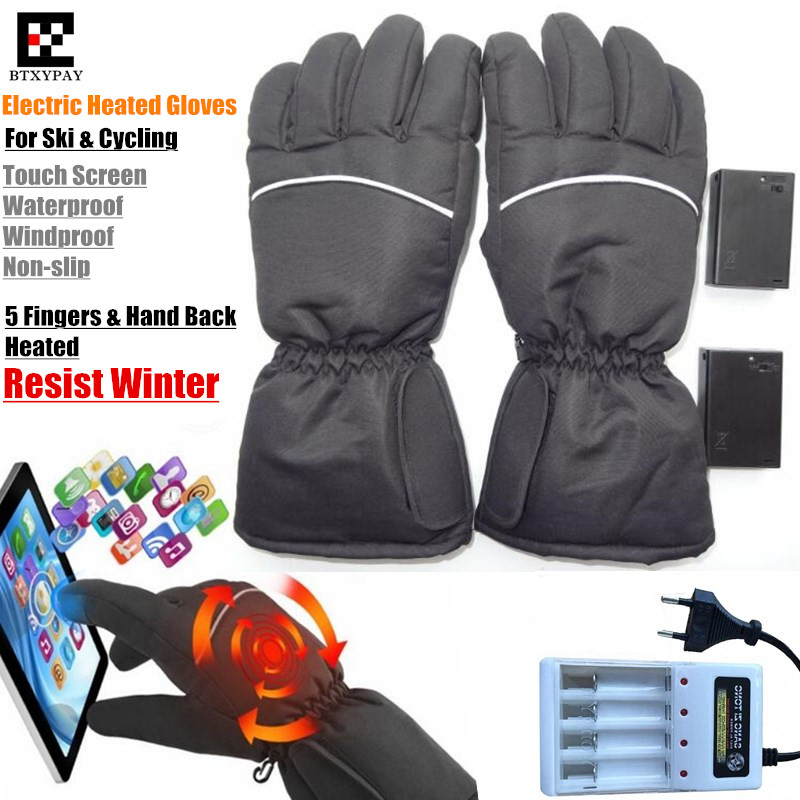 Уличные перчатки с электроподогревом для мотора, охоты, зимние теплые водонепроницаемые перчатки с автоподогревом и питанием от батарейки ...