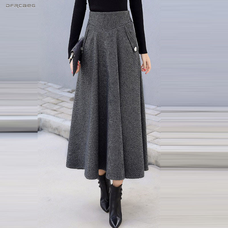High Waist Retro Plaid Woolen Women Skirts Winter 2019 Fashion Warm Winter Office Wool Pleated Maxi Skirt Femme Saia Longa
