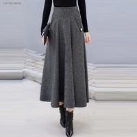 High Waist Retro Plaid Woolen Women Skirts Winter 2019 Fashion Warm Winter Office Wool Pleated Maxi Skirt Femme Saia Longa