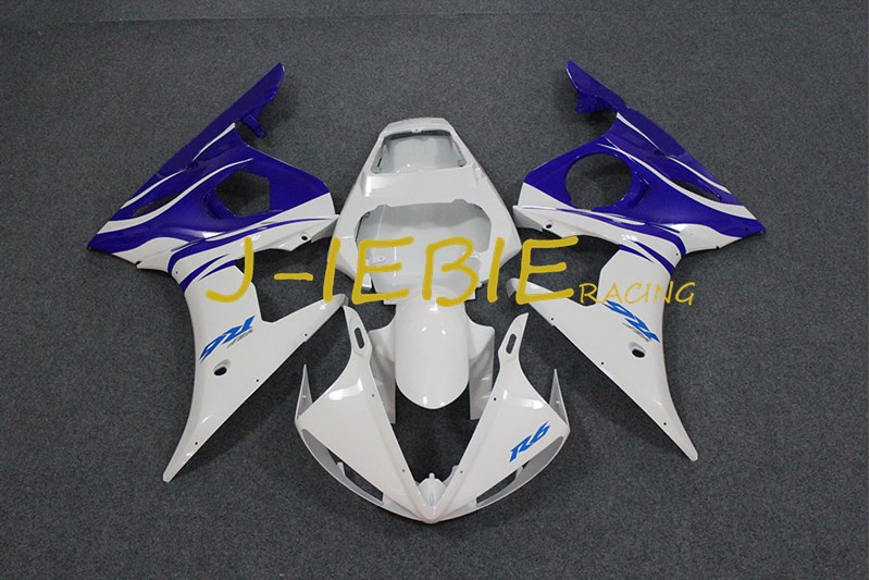 White blue Injection Fairing Body Work Frame Kit for Yamaha YZF R6 2005